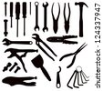 Various Isolated Tools - black on white - stock vector