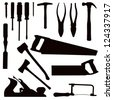 Various Isolated Woodwork Tools - black on white - stock vector