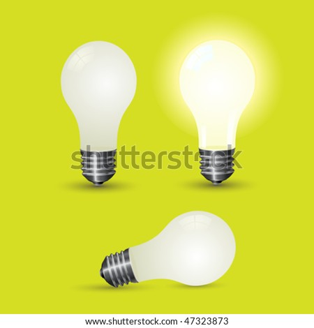 Various light bulb over a green background. Vector image.