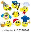 Various smileys 4 on white background - vector illustration. - stock vector