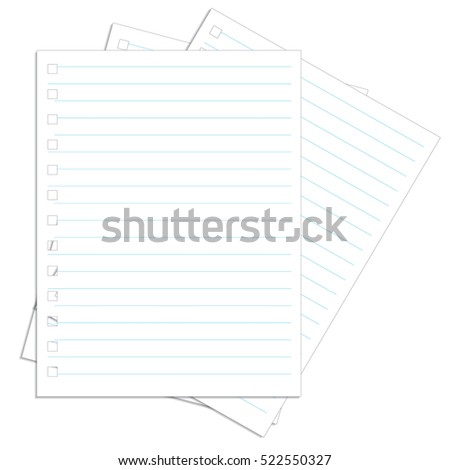 Various white papers, ready for your message. Vector illustration.