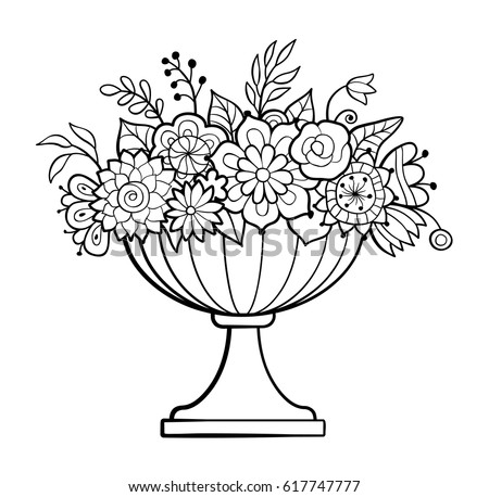 Black white seamless floral pattern monochrome stock for Flowers in vase coloring pages