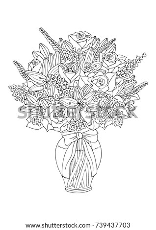 Bouquet Fantasy Flowers Bow Coloring Book Stock Vector
