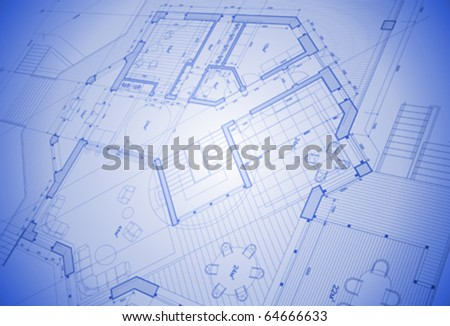 vector abstract architecture background: house plan - blueprint