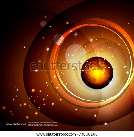 vector abstract background space, with the planet and stars
