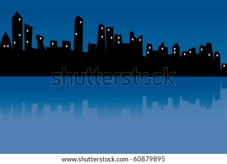 vector abstract city in the night