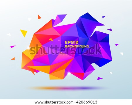 Vector abstract colorful purple and orange faceted crystal banner, 3d shape with triangles, geometric, modern template