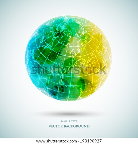 Vector abstract Earth, watercolor background