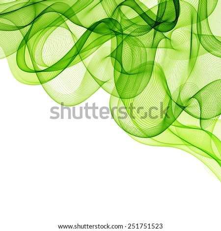Vector Abstract green cloud smoky waves  background. Template brochure design