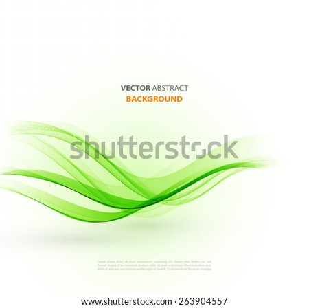 Vector Abstract green curved lines background. Brochure or website design