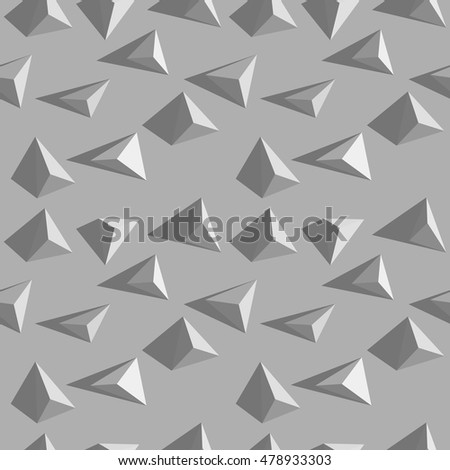 Vector Abstract Grey Seamless Pattern Volumetric Triangle Texture Shards Modern Background
