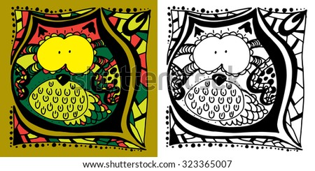 Vector abstract hand-drawn texture.  Pattern for coloring book. Ethnic, floral, retro, doodle, vector design element. Black and white background. Doodle vector background. Greeting card design