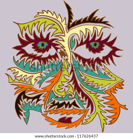Vector abstract patterned face