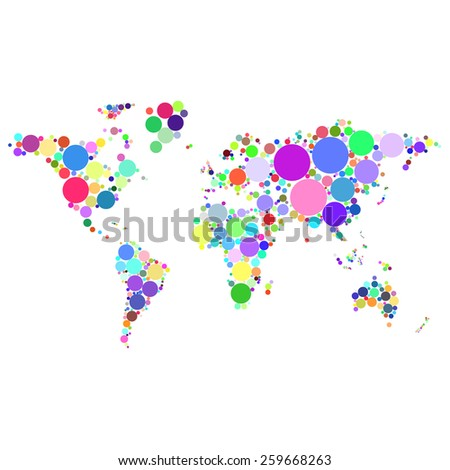 Vector abstract worldmap colorful dots isolated on white background illustration