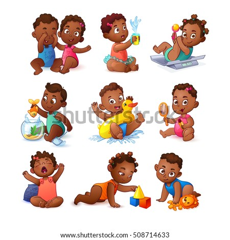 Cute African American Baby Boy Girl Stock Vector 276480404 ...