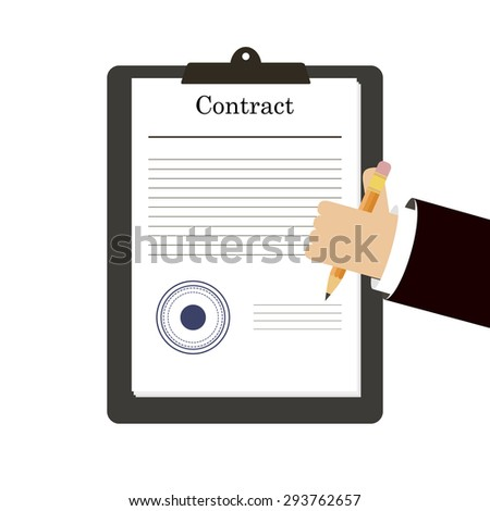 Vector Agreement Icon Hand Signing Contract Stock Vector