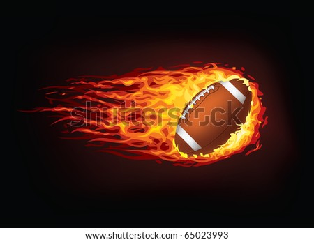 Vector American football ball enveloped in fire flames isolated on black background.