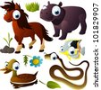 vector animal set: horse, hippo, snake, fish, duck - stock photo