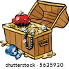 vector antique chest full of glimmering treasure, including a crown, pearl necklace, gold coins, chalice, diamonds and other riches illustration - stock vector