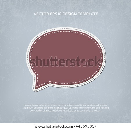 Vector applique style speech bubble icon. Layered, double stitched