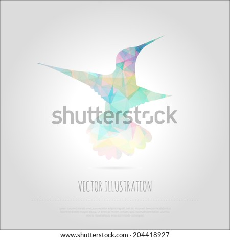 Vector art illustration flying birds colibri isolated. Contemporary spectrum mosaic design element. Abstraction animal hummingbirds card. Trendy multicolored polygonal background  with text block.