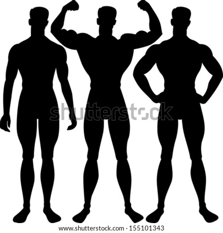 Vector athletic man silhouette in different poses, isolated on white background