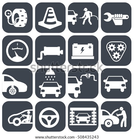 Vector auto car and mechanic icons set.car part set of repair icon vector illustration. Car service maintenance icon