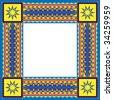Vector background frame with southwestern design - stock vector