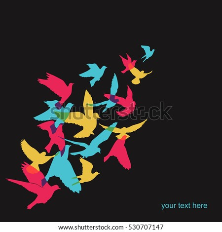 Vector background of colorful silhouette birds.