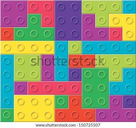 vector background pattern of colorful plastic blocks, toy game