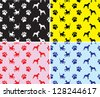 vector, background,patterns seamless with dogs and prints of feet - stock vector