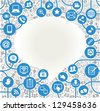 vector background speech bubble shape formed by the social media icons and words - stock vector