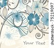 vector background with abstract flowers and blots, space for your text, eps8 - stock photo