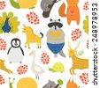 Vector background with cute animals. Cartoon raccoon, snail, penguin, deer, peafowl; squirrel, turtle, panda, goose and unicorn isolated on white background - stock