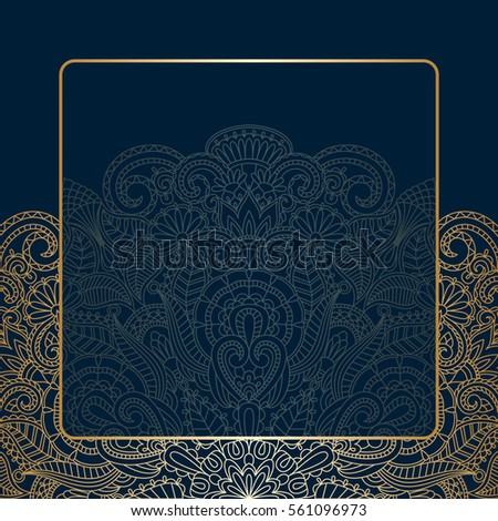Vector background with gold floral vintage pattern.
