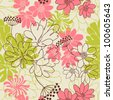 Vector background with hand drawn flowers. (Seamless Pattern) - stock photo