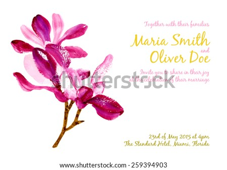 Vector background with red watercolor magnolia for wedding invitation or flyer
