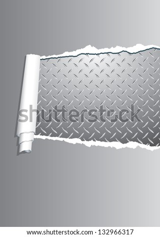 vector background with ripped paper and diamond metal plate