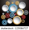 vector background with set of colorful gears in action - stock photo