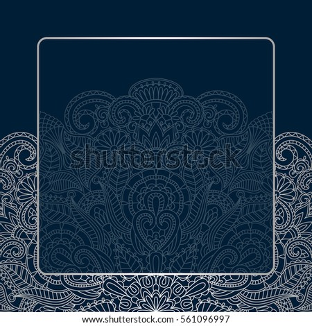 Vector background with silver floral vintage pattern.
