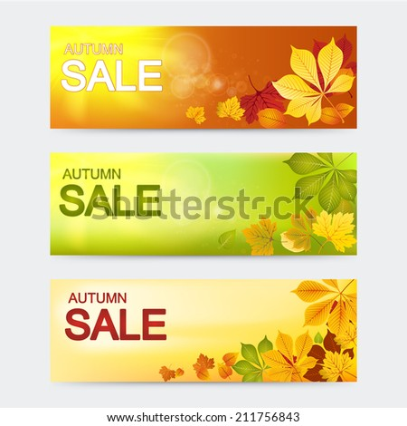 Vector banners. Autumn sale.  Red yellow and green autumn vector leaves on sunny background