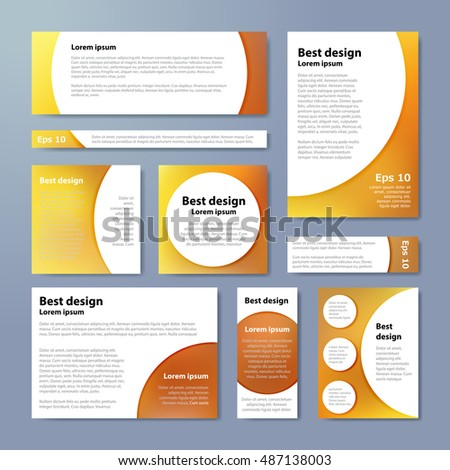 Vector banners set with yellow blur background and circle white elements