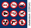 "vector based illustration of various icons of ""no smoking"" , no this, no that , etc. - stock vector"