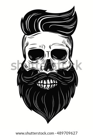 vector bearded skull illustration on white stock vector