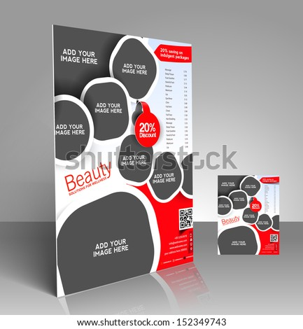 Vector beauty salon brochure flyer magazine stock vector for Price list brochure template