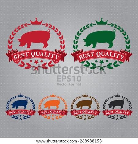 vector : best quality pork  ribbon, sticker, sign, icon, label