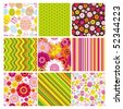 Vector big set of  backgrounds with seamless. - stock vector