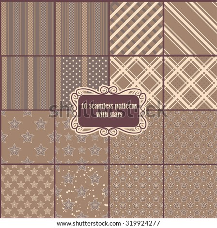 Vector big set of vintage pattern with stars