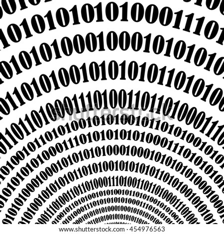 Vector Binary Code Background. Numbers Concept. Algorithm, Data Code, Decryption and Encoding