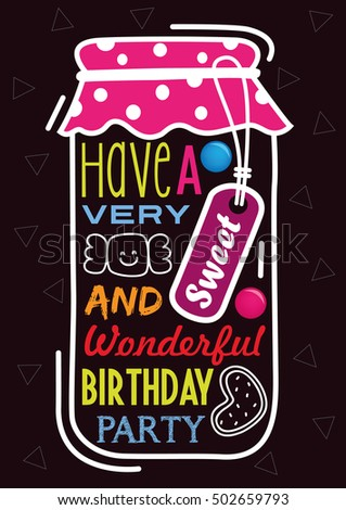 Vector Birthday Card Candy jar with tag and typography